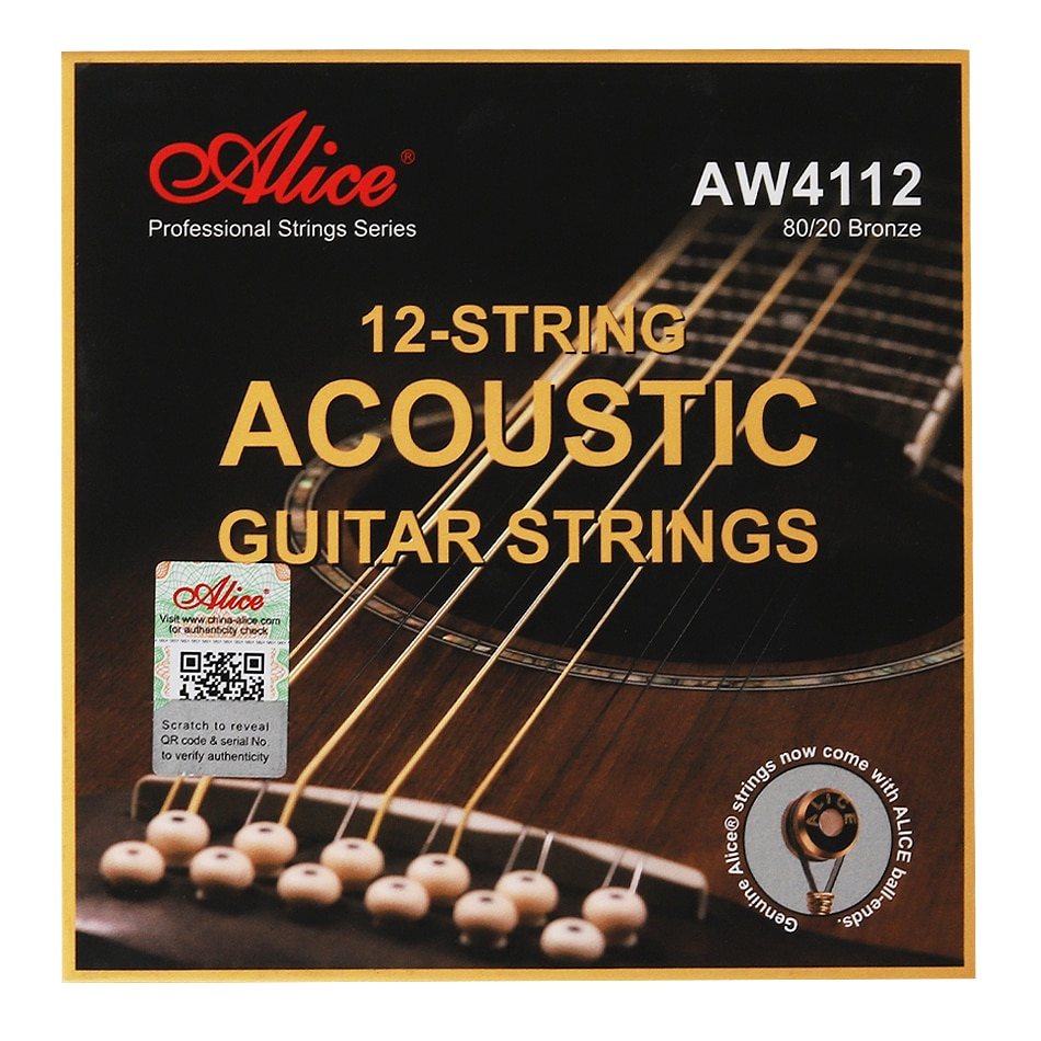 Alice AW4112 AW4212, cuerdas de guitarra acústica de 12 cuerdas, recubrimiento antioxidante de bronce