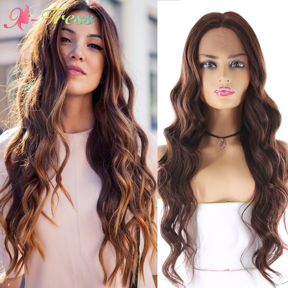 X-TRESS Long Body Wave Lace Front Wigs for Women Ombre Brown Synthetic Wigs Long Soft Heat Resistant Fiber Middle Part Lace Wig