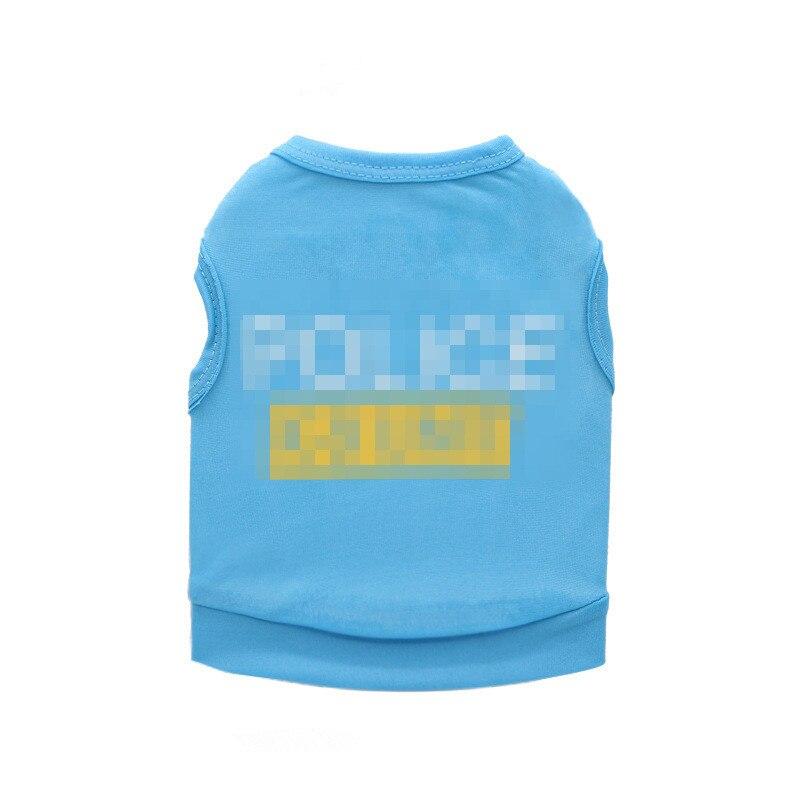 Linda ropa de perro mascota para perros pequeños policía primavera cachorro gato Camiseta de algodón chaleco verano mascota ropa Chihuahua camisas con perro