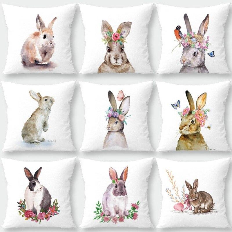 Silstar Tex decoración de conejo de pascua funda de cojín encantador conejo funda de almohada blanca para Decoración sofá hogar