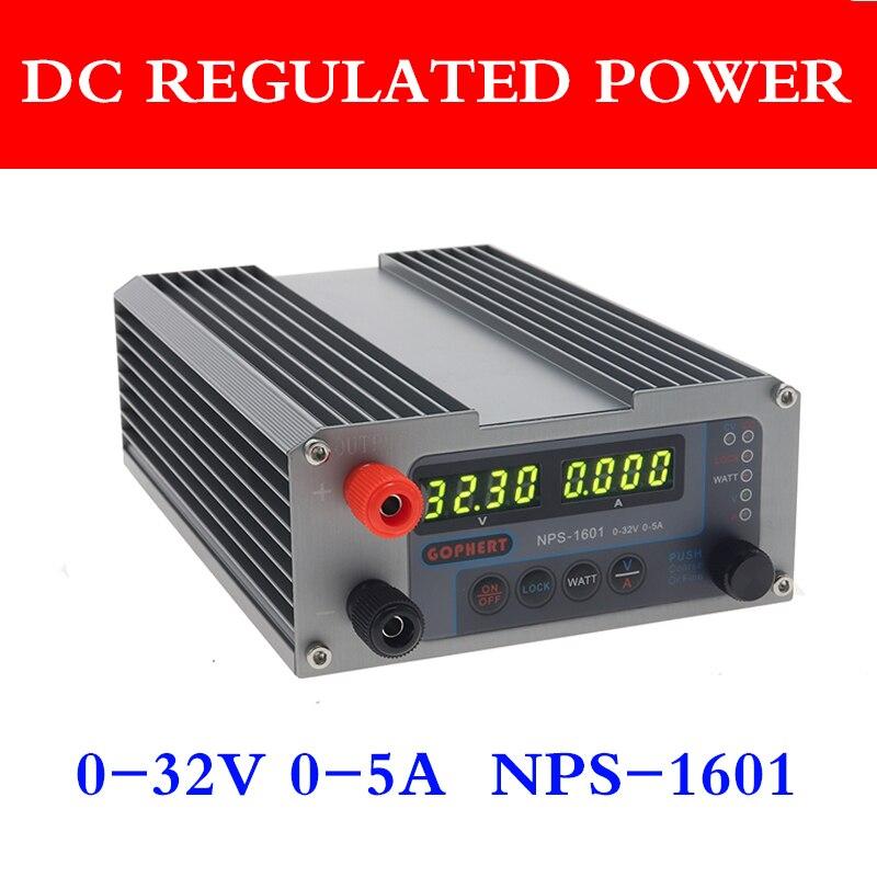 NPS 1601 DC источник питания регулируемый цифровой мини лабораторный источник питания 32V 5A Точность 0,01 V 0.001A ватт с функцией блокировки