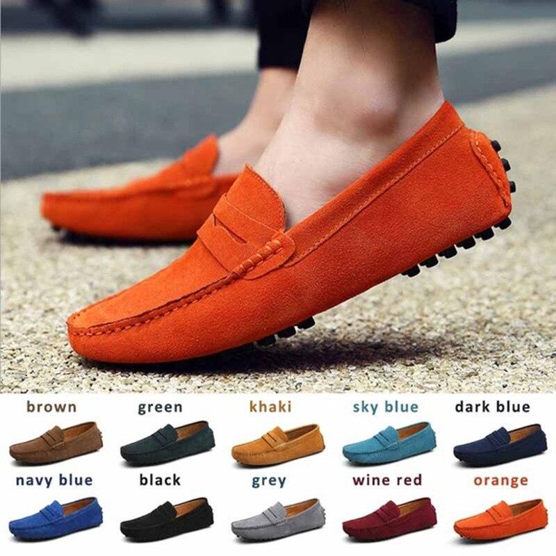 الصيف جلد أصلي للرجال أحذية موضة جلد الغزال الرجال حذاء كاجوال حذاء رجالي أحذية قيادة لينة الأخفاف أحذية رياضية كبيرة الحجم 38-48