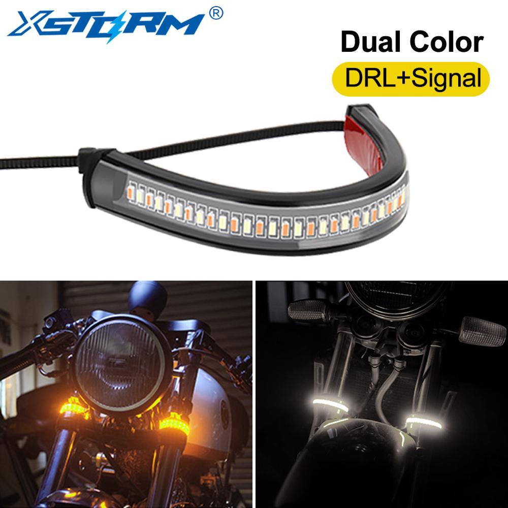 1 pieza Universal LED Luz de señal de giro para motocicleta y DRL ámbar blanco Moto flash anillo horquilla tira lámpara intermitente centellante 12V