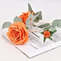 artificial flowers 3 roses 75cm wedding anniversary thanksgiving hotel shopping mall window cheap decorative green flowers