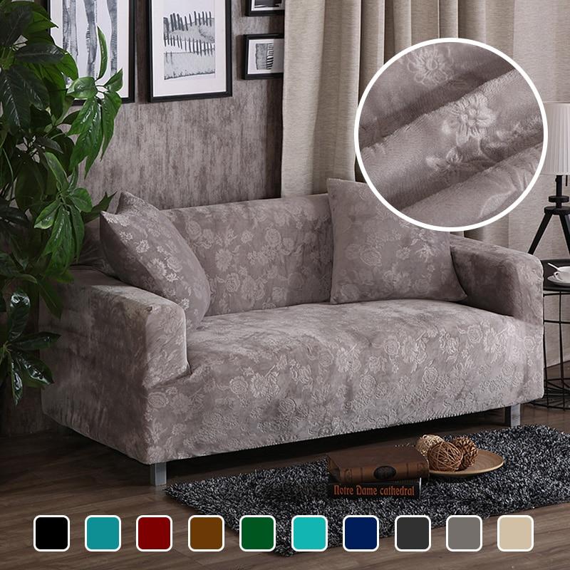 Fundas de sofá de terciopelo grueso Jacquard, fundas elásticas universales de decoración, fundas para sofá seccionales de felpa cálida de 1/2/3/4 plazas