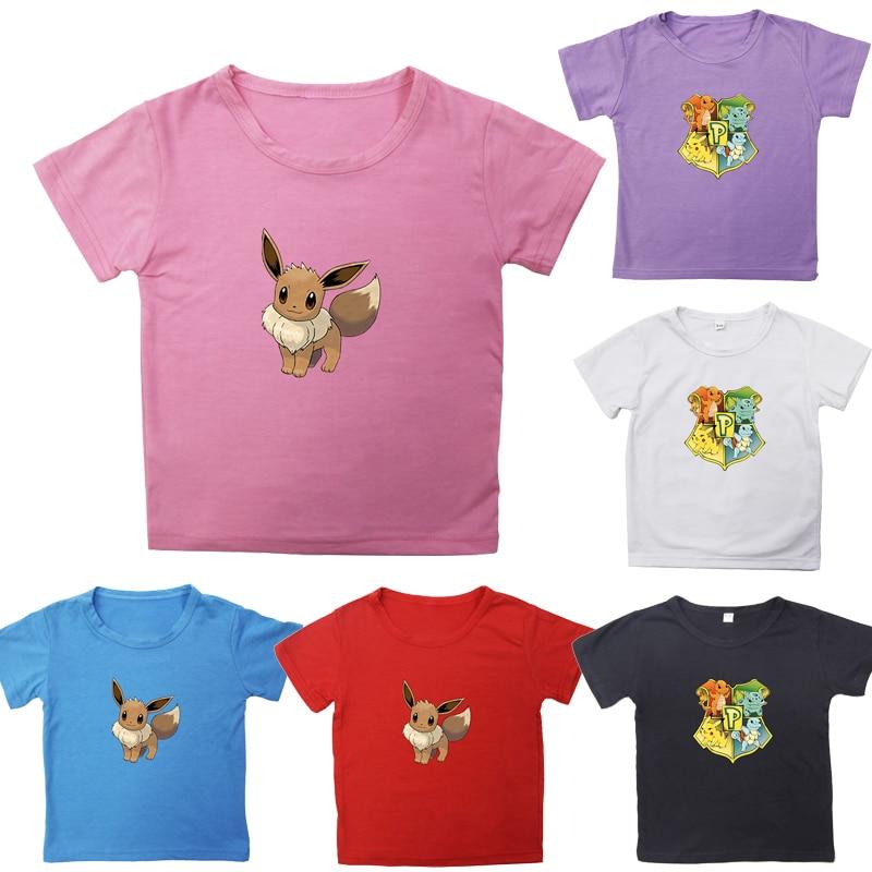 New Cute Summer Hot Sale Kids Pokemon Eevee T Shirt Boys Girls Casual Cotton Short Sleeve Pikachu Child Tee Tops for Children