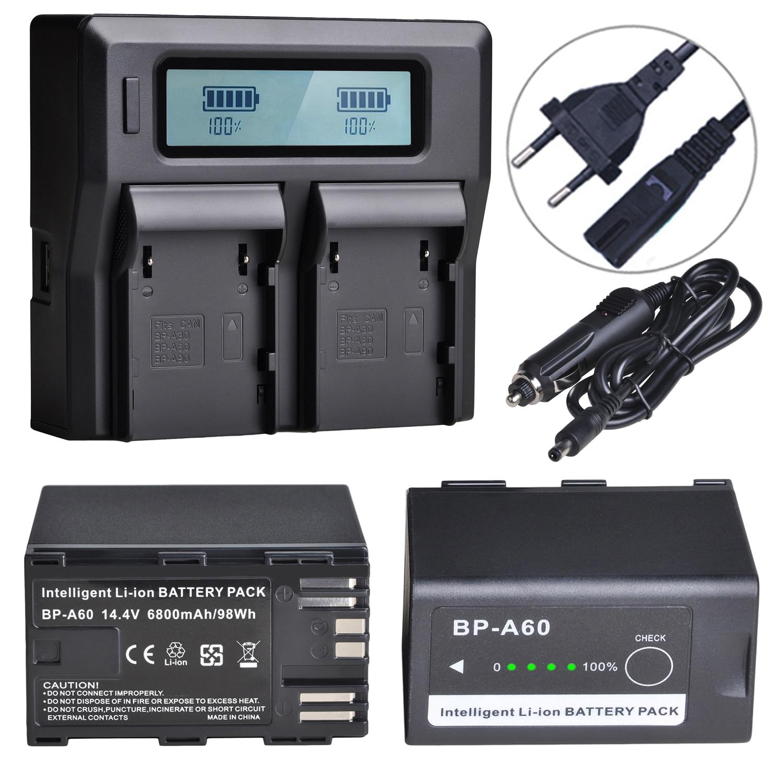 2 шт., 6800 мАч, аккумулятор Φ BP A60 + двойное зарядное устройство с ЖК-экраном для Canon BP-A60, EOS C200, C200 PL, C200B, C300 Mark II, XF705