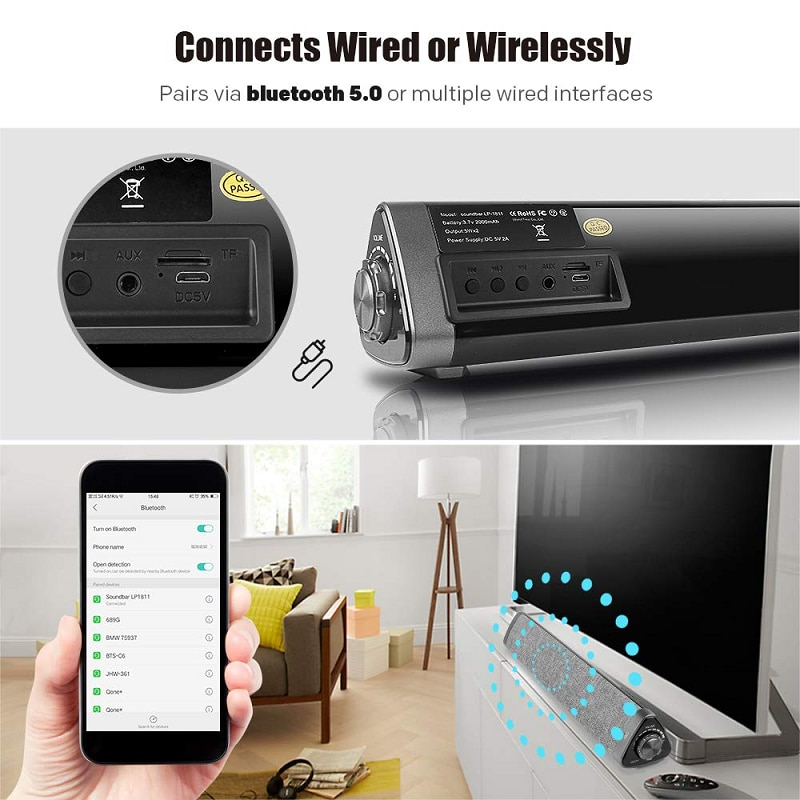 Bluetooth TV Speaker High-power Home Theater Soundbar 3D Surround Sound Echo Wall Wireless Wired Connection with Remote Control enlarge