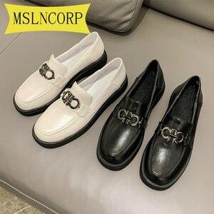 Plus Size 34-46 Women Bowtie Platform Autumn Derby Shoes Ladies Flat Oxfords PU Leather Slip on Female Comfort Fashion Footwear