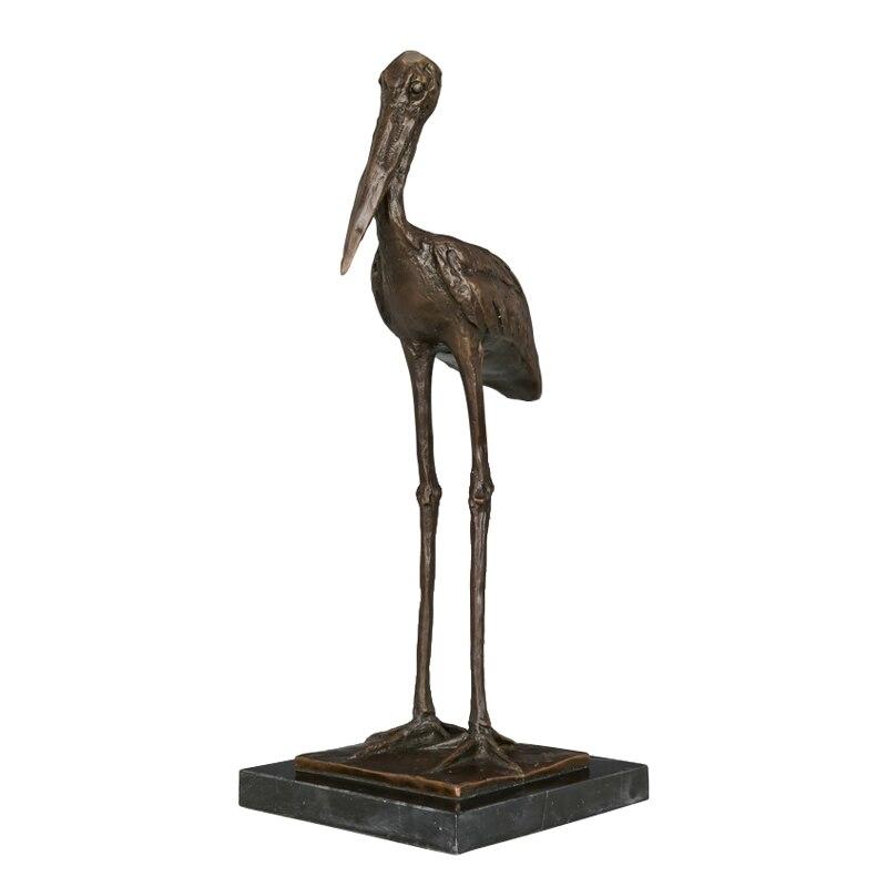 Estatua de bronce y de pie con Grulla, escultura antigua de Animal pájaro, recibidor de figurita artística para casa, armario, decoración, regalo de cumpleaños