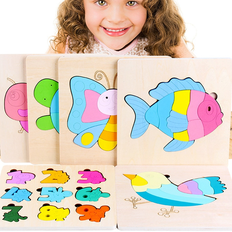 New High Quality Colorful Baby 3D Puzzle Jigsaw Wooden Toys Kids Cartoon Animals Memory Puzzles Children Educational Toys