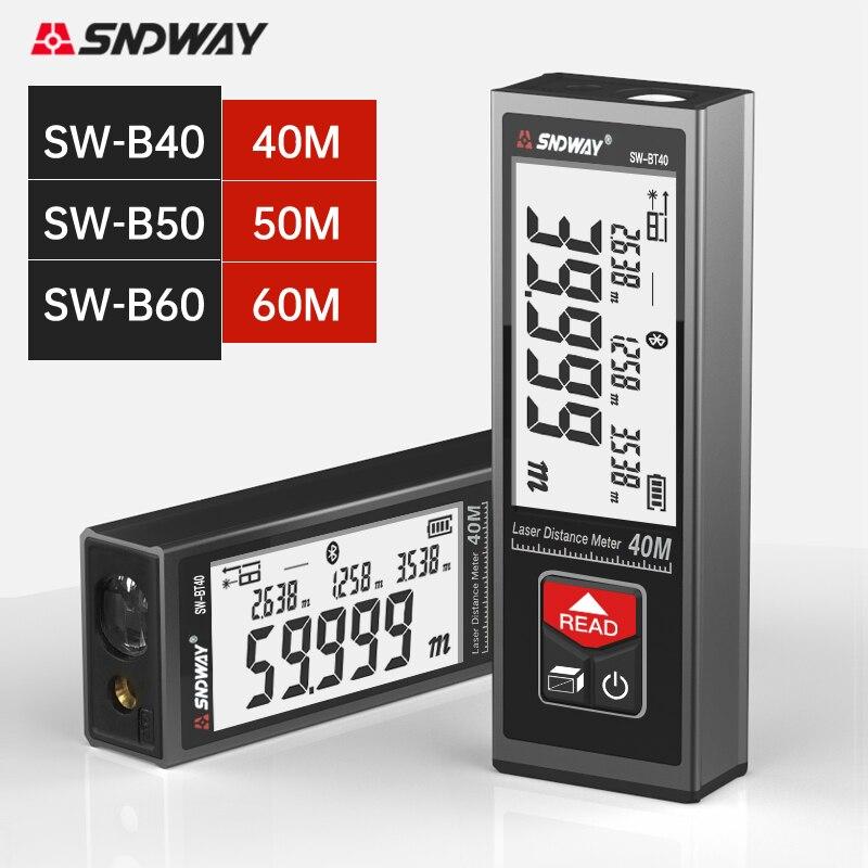 SNDWAY-telémetro láser de mano, medidor de distancia, 40M, 50M, 60M, pantalla Digital...