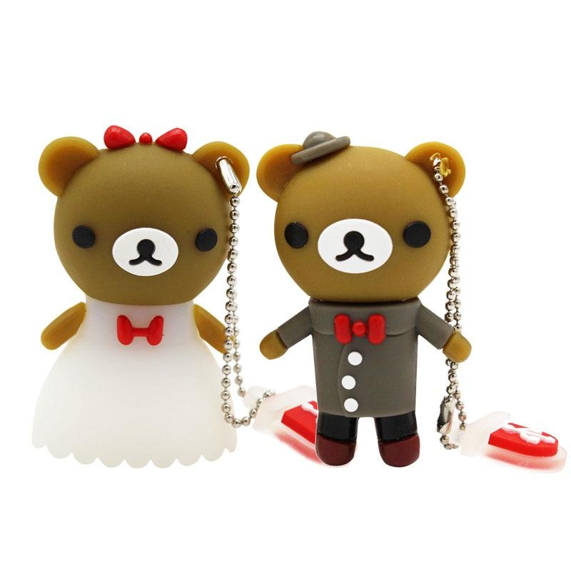 BiNFUL свадебный подарок мультяшный медведь pendrive 4 ГБ 8 ГБ 16 ГБ 32 ГБ 64 Гб ручка для жениха usb флеш-накопитель
