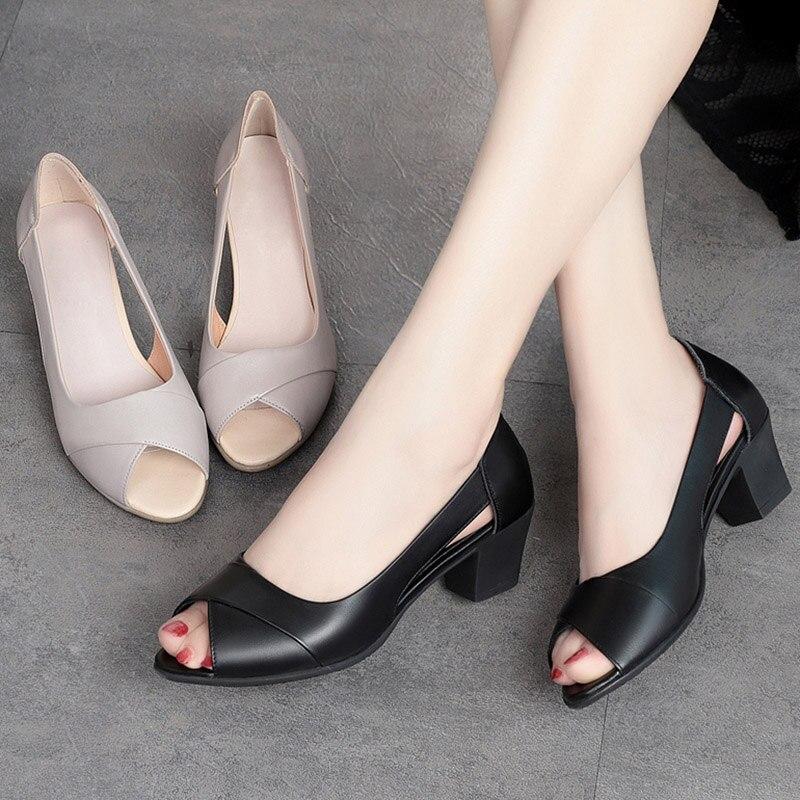 2020 Summer Women Dress Shoes Peep Toe Office Work Shoes Medium Heels Pumps Open Toe Woman Sandals B