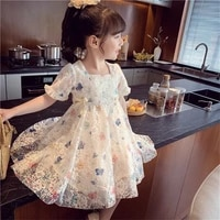 kids summer light girls dresses 2021 new bow butterfly printing lace mesh princess party dress 3 7 years children clothing