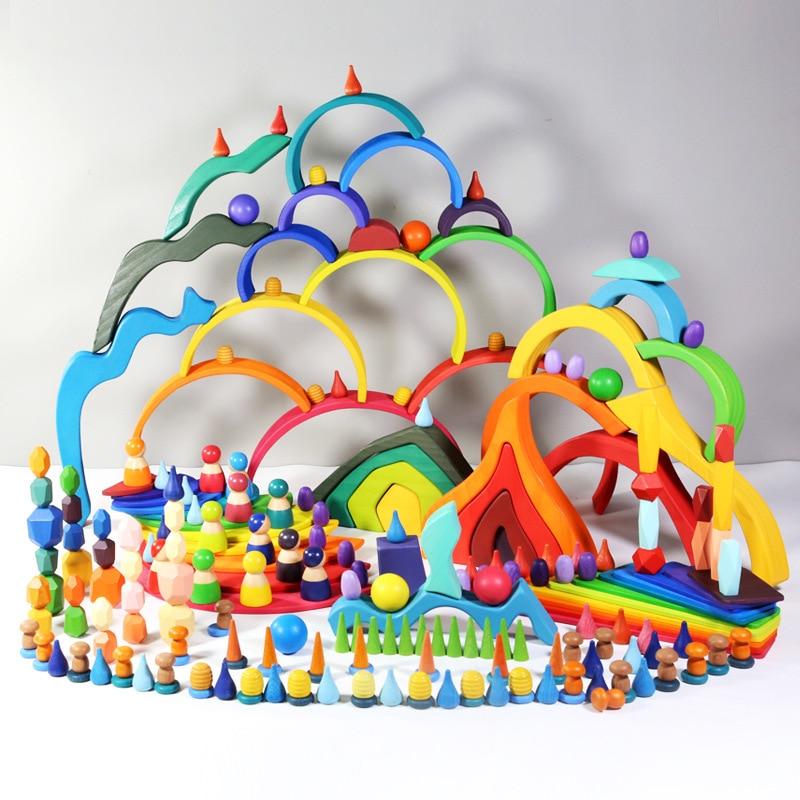 Детские игрушки, радужные строительные блоки, деревянные игрушки для детей, креативный Радужный штабелер Монтессори, обучающая игрушка для...