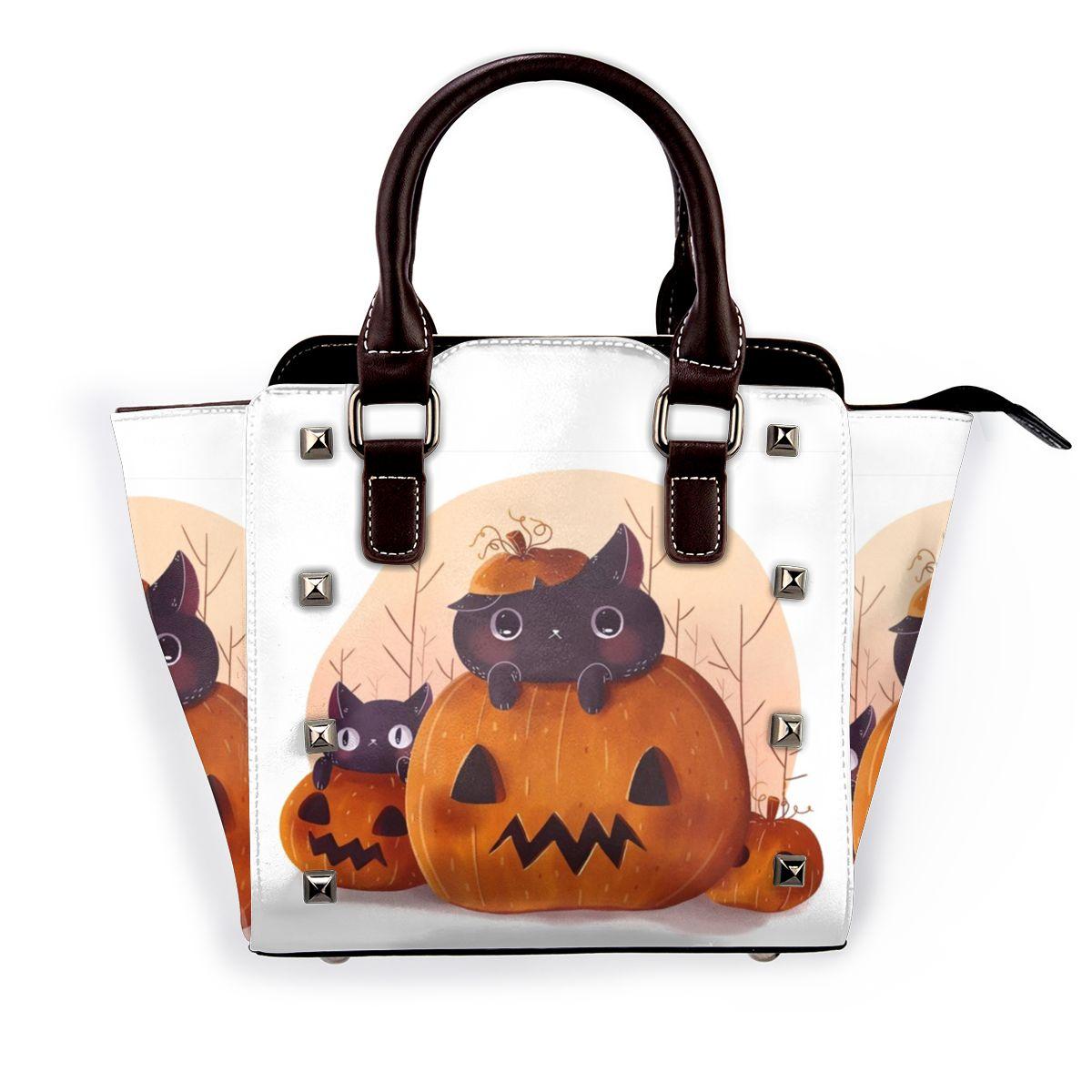 هالوين اليقطين لطيف القطط حقيبة كتف الحيوان العمل حقيبة يد جلدية الإناث الهدايا حقائب الجمالية