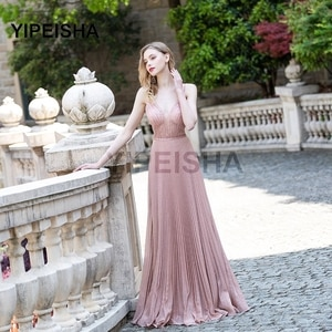 Sumptuous Spaghetti Strap Beading Deep V-Neck Evening Dress Pleat A-Line Backless Sleeveless Prom Party Gown robe de soirée