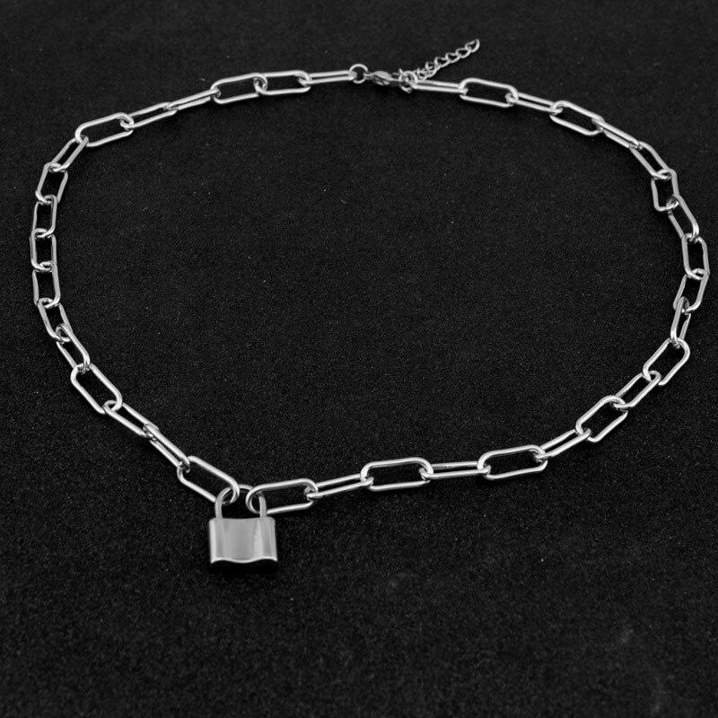 2020 collar de cadena de bloqueo coreano punk 90s cadena de enlace color plata candado colgante collar mujeres hombre estético egirl joyería kpop