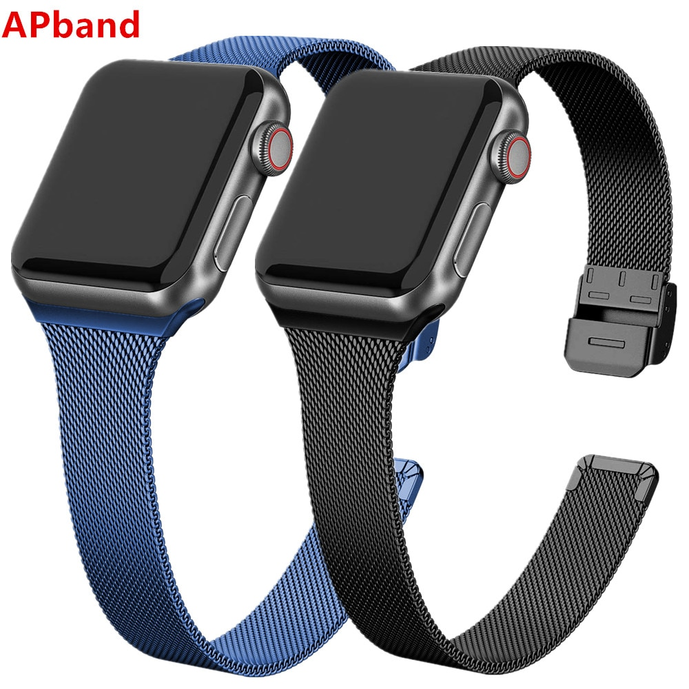 Milanese strap For Apple Watch band 44mm 40mm iWatch band 42mm/38mm Stainless steel bracelet Apple watch series 5 4 3 SE 6 woman strap for apple watch band 40mm 44mm link bracelet iwatch band 38mm 42mm stainless steel for apple watch series 6 5 4 3 2