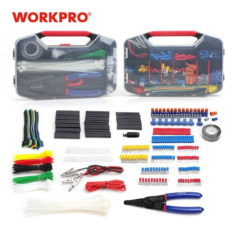 WORKPRO 582PC Электромонтер набор инструментов для электроремонта набор инструментов обжимные клеммы провода соединители термоусадочная трубк...