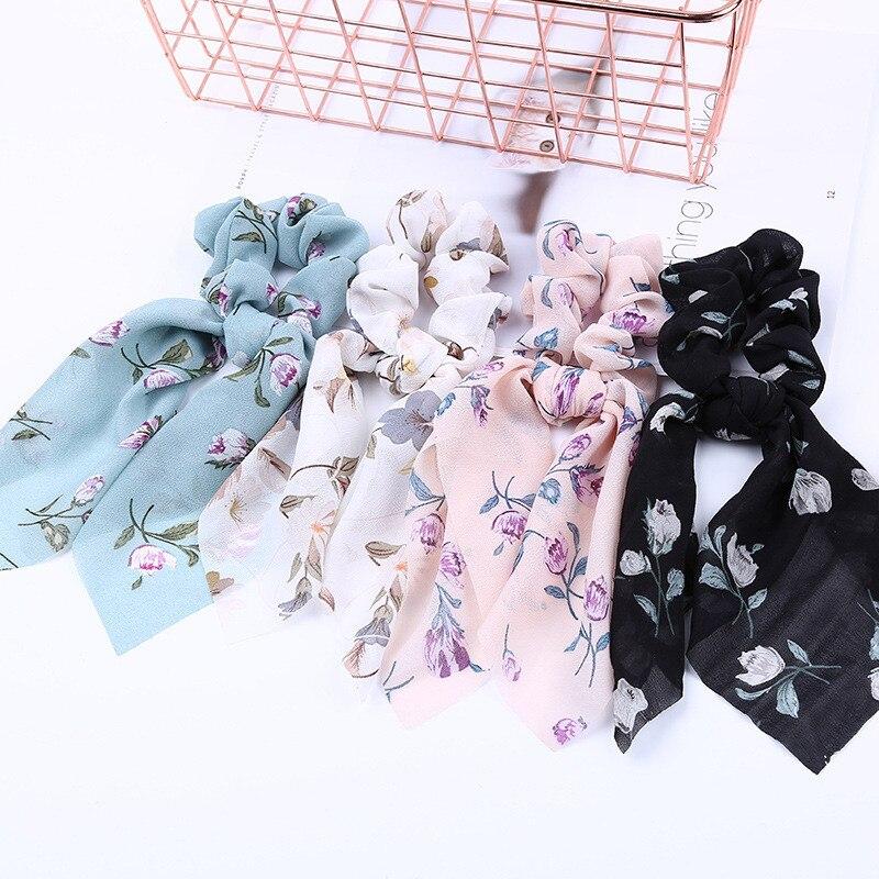 O envio gratuito de Moda Chiffon floral impresso das mulheres faixas de Cabelo arco elegante scrunchies cabelo da menina fita hairtie elástico de borracha