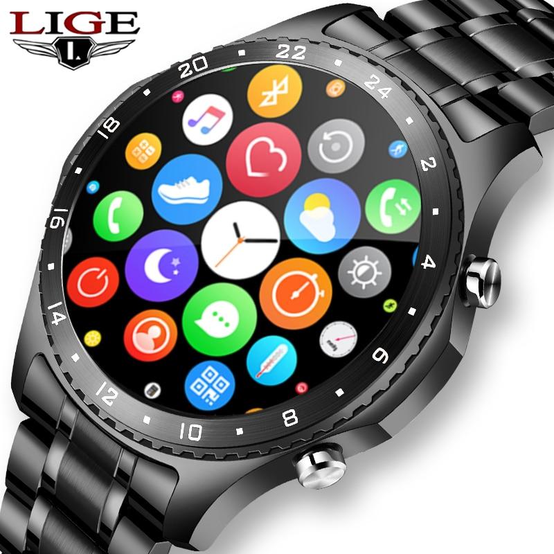 LIGE 2021 جديد الرجال ساعة ذكية شاشة تعمل باللمس كامل الرياضة اللياقة البدنية ساعة مقاوم للماء دعوة بلوتوث لنظام أندرويد IOS smartwatch رجالي