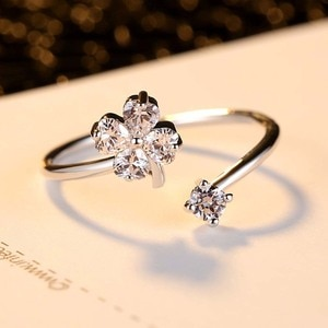 SBR017   Fashion Lucky Flower Zircon Open Ring for Foreign