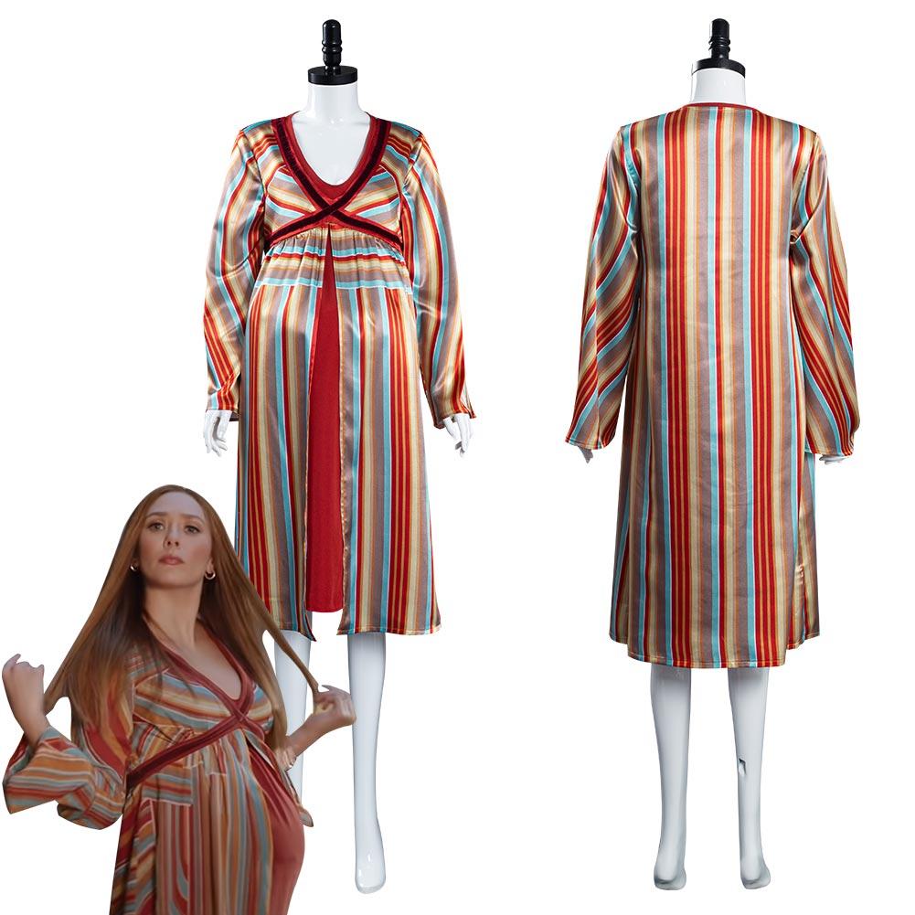 WandaVision Scarlet Witch Wanda Maximoff Cosplay Costume Women Dress Outfits Women Pajamas