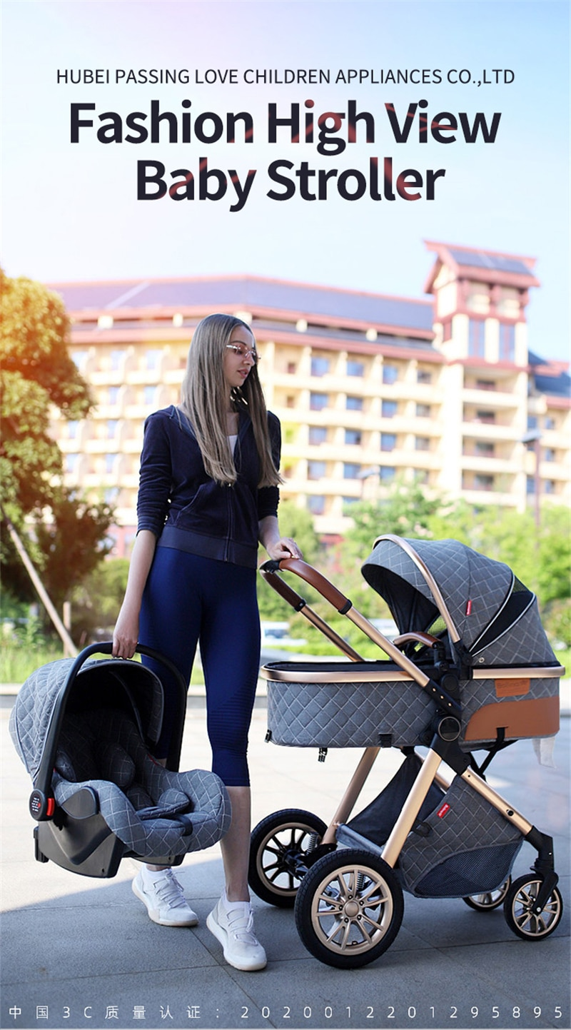 3 in 1 Baby Stroller Luxury Baby Pushchair Aluminum Frame Car High Landscape Baby Carriage Folding Kinderwagen Pram with Gifts enlarge