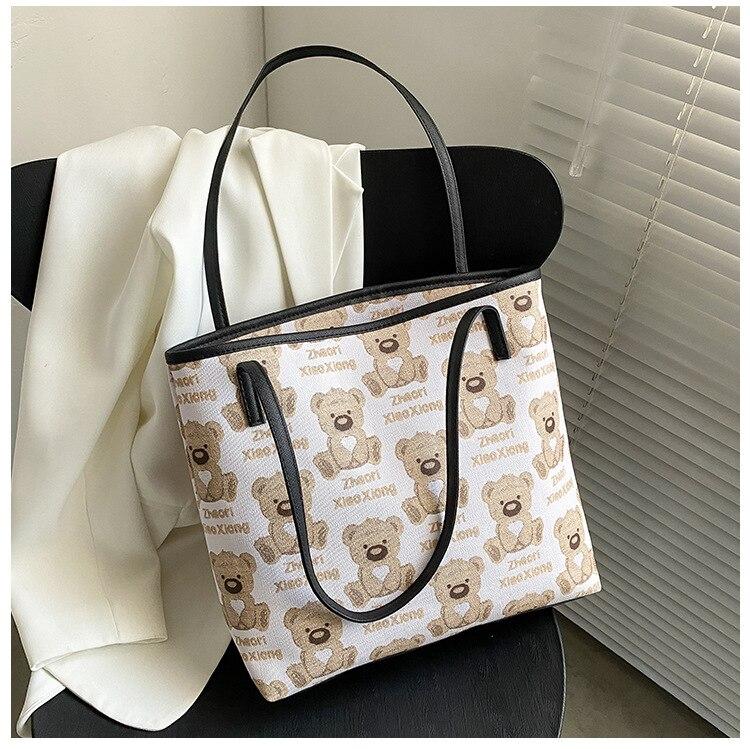 Tote Bag for Women Cartoon Little Bear Large Capacity Fashion Canvas Handbags 2021 New Shoulder Shopping Bag Bolsos Con Asa