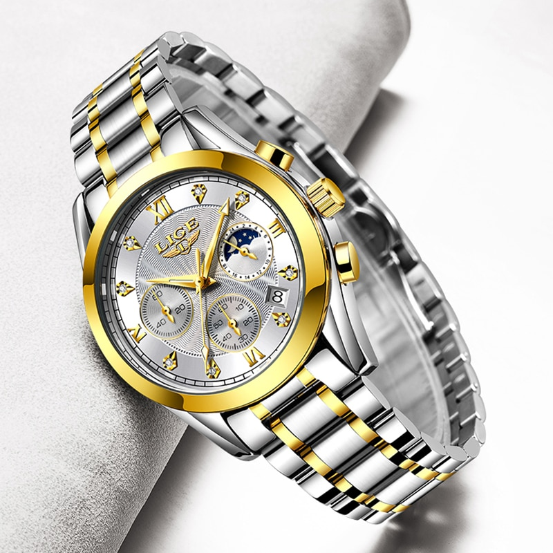 LIGE موضة النساء الساعات السيدات العلامة التجارية الفاخرة الفولاذ المقاوم للصدأ التقويم الرياضة ساعة كوارتز المرأة مقاوم للماء ساعة Montre فام