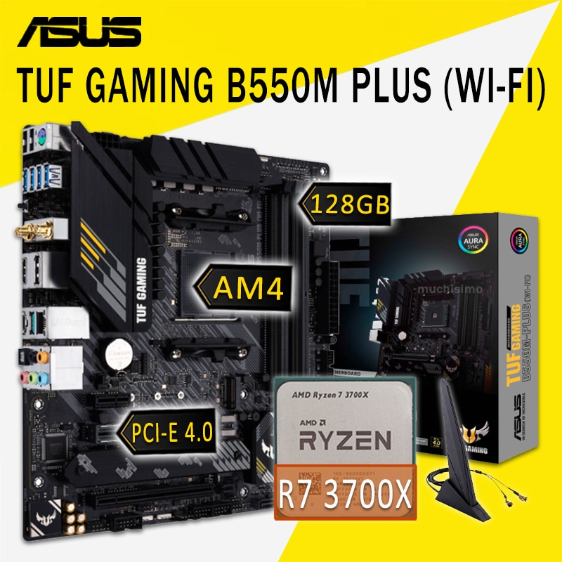 Asus TUF GAMING B550M-PLUS (WI-FI) Motherboard With AMD Ryzen 7 3700X Motherboard Set AMD B550 Gaming Placa-Mãe AM4 DDR4 3700X