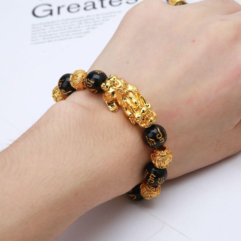 De las mujeres de la moda pulseras de piedra obsidiana negra el budismo seis palabras Pixiu pulsera de amuleto de la suerte de accesorios de la joyería para las mujeres