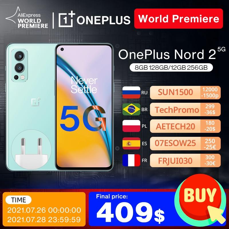 World Premiere OnePlus Nord 2 5G Smartphone Global Version 8GB 128GB 50MP AI Camera OIS MTk Dimensity 1200-AI Warp Charge 65