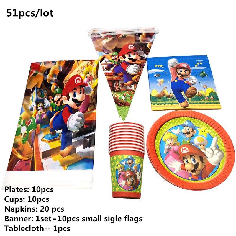 51 unids/lote Super Mario tema vajilla de la fiesta de cumpleaños de decorar servilletas placas tazas de la ducha de bebé de la cubierta de la Mesa colgante Banner