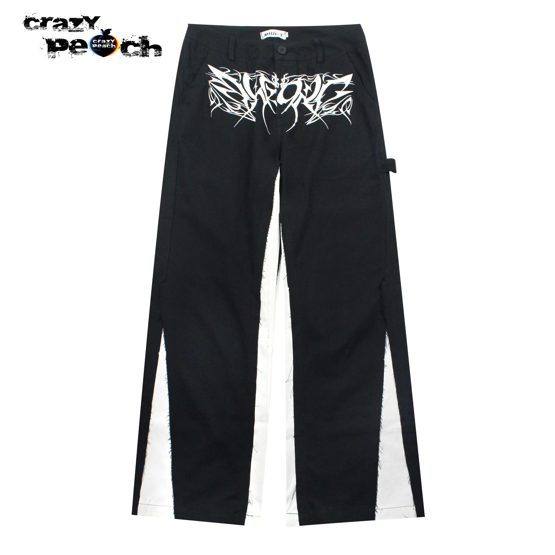 ملابس رجالي harajuku الهيب هوب اليابانية طباعة تقسم بانت الشارع الشهير ملابس الشارع السراويل فضفاض أسود كاكي مستقيم كامل طول