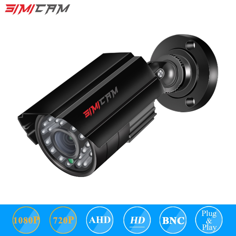 SIMICAM 2.0MP HD 1080p 1920TVL الأمن العهد كاميرا في الهواء الطلق داخلي 24 قطعة المصابيح 120ft IR ليلة VisionWeatherproof مراقبة CCTV