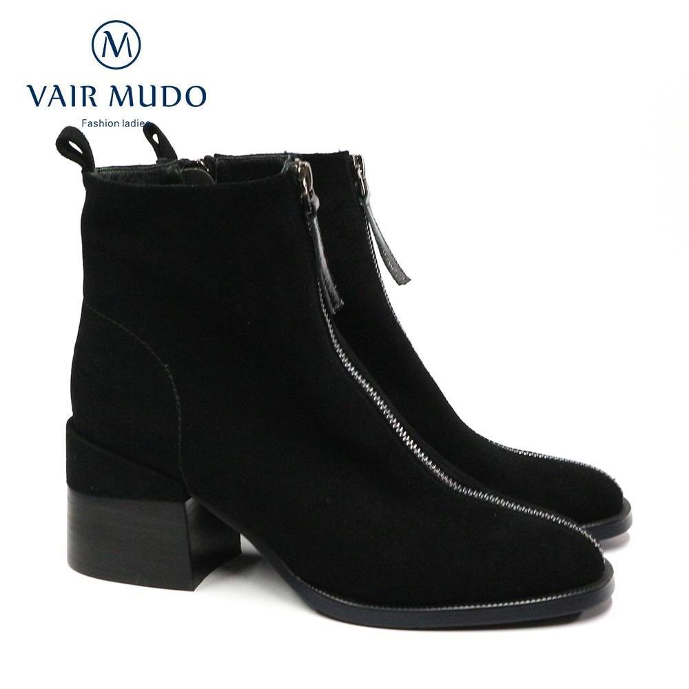 VAIR MUDO-حذاء كاحل خريفي وشتوي, أحذية نسائية جلدية حقيقية ، أنيقة بسحاب ، اللون الأسود والأرجواني DX47