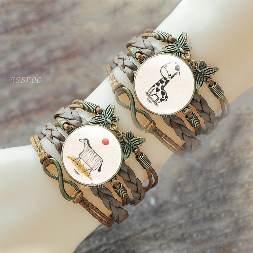 Cabeza de gato pulsera de cristal Domo Snap Brown botón Multi-Pulsera piel capas Steampunk Animal joyería hecha a mano hombres mujeres regalo