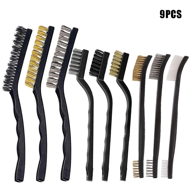 triangle dust removal mop stainless steel lengthen retractable dust brush sweeping wall 9pcs Wire Brush with Stainless Steel Brass Nylon for Removal Small Wire Brush for Cleaning Welding Slag Rust Dust