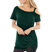off shoulder casual solid tops for ladies 2021 summer clothes womens loose drawstring o neck short sleeved tee shirt