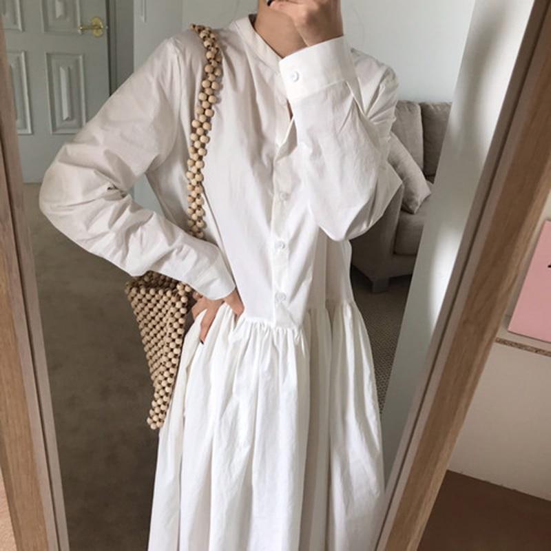 Yamdi mulheres sólido único-breasted camisa vestido feminino 2020 primavera outono sólido branco coreano pista chique manga longa midi vestido