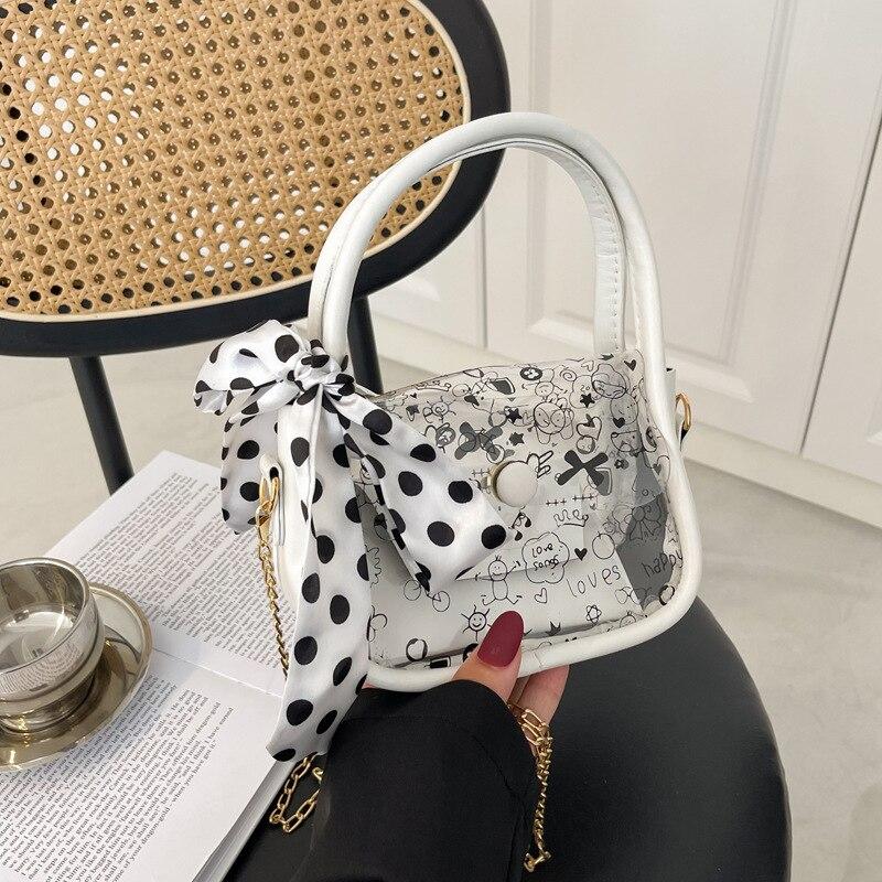 Роскошная дизайнерская сумка, прозрачные сумки для женщин, новинка 2021, клатч на цепочке, кошелек, прозрачные сумки, мессенджер из ПВХ с мульт...