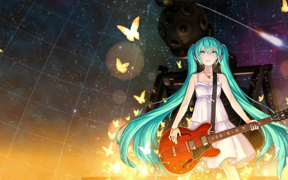 Póster de Tela con estampado artístico Chica de anime hatsune miku guitarra estrellas mariposas espaciales PP414 para decoración de pared decoración de habitación decoración del hogar