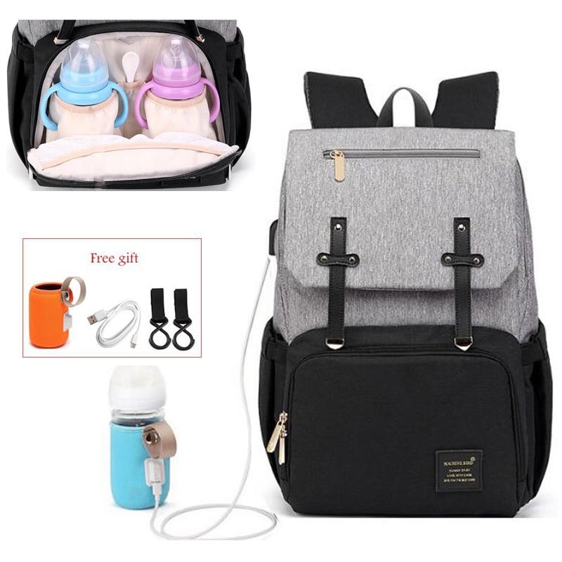 Pañal de maternidad bolsa para cuidado del bebé para momia mamás cochecito bolsa USB impermeable viaje amamantar mamá Bakcpack bolsa de cambio