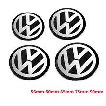 4 шт. 56 мм 60 мм 65 мм 75 мм 90 мм черная Центральная втулка колеса автомобиля Кепка бейдж логотип эмблема наклейка на колесо наклейка Стайлинг для VW
