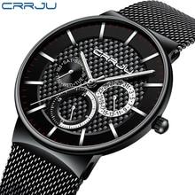 Mens Watches CRRJU Top Brand Luxury Waterproof Ultra Thin Date Clock Male Steel Strap Casual Quartz