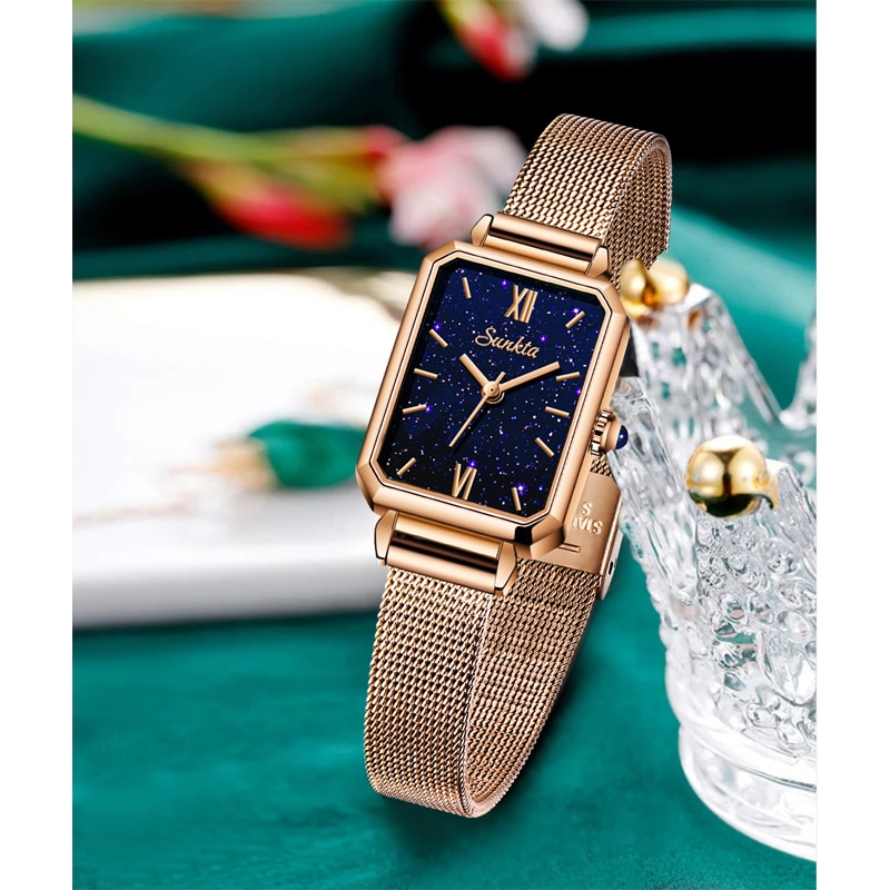 SUNKTA Quartz Movement High Quality 36mm hannah Martin Women Stainless Steel Mesh Rose Gold Waterproof Ladies Watch Dropshipping enlarge