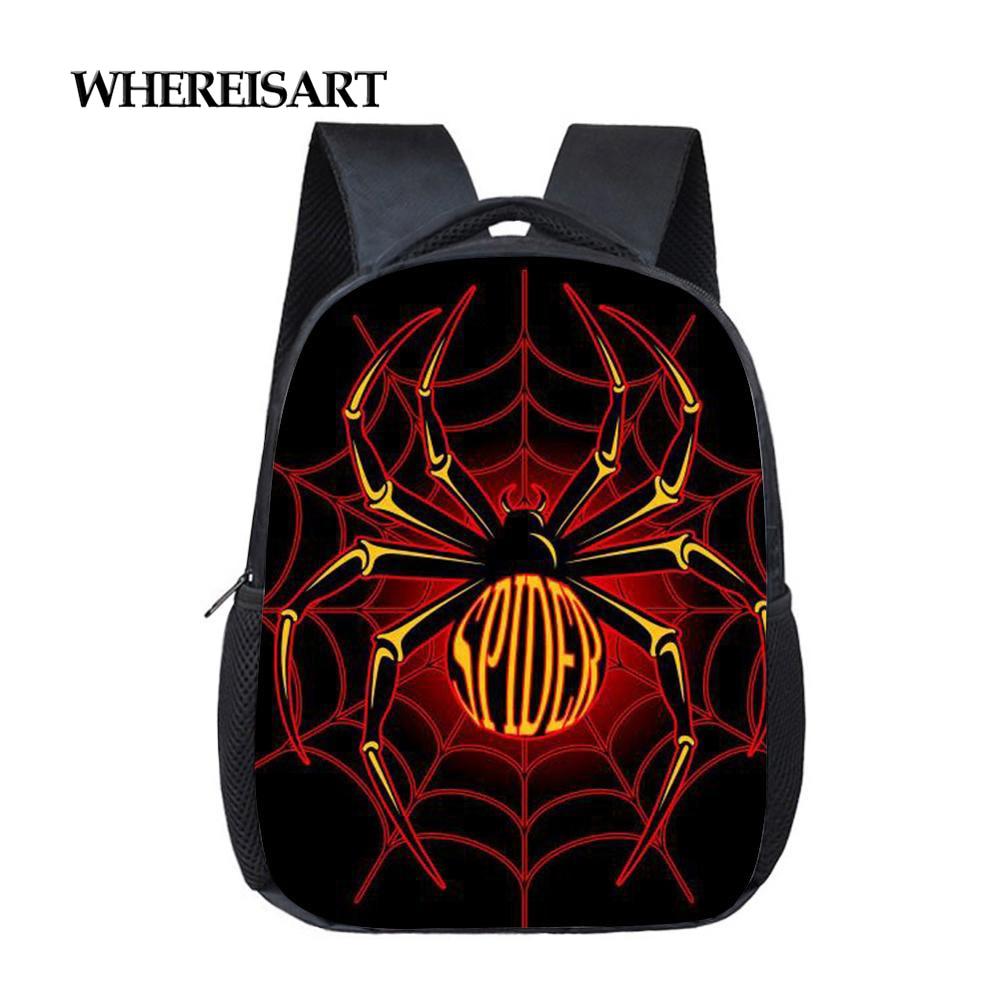 WHEREISART крутой школьный рюкзак с принтом паука для мальчиков, Детский рюкзак, легкая школьная сумка для малышей 12 дюймов